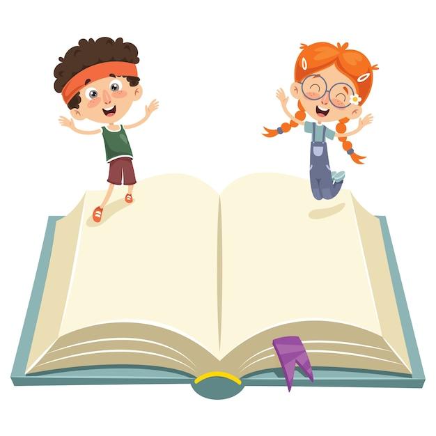 Wektorowa Ilustracja Dzieciaki Skacze Na Książce Premium Wektorów