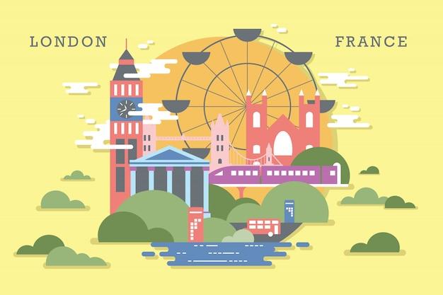 Wektorowa ilustracja ekosystem w london Premium Wektorów