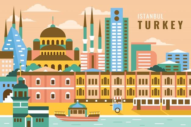 Wektorowa ilustracja istanbul indyk Premium Wektorów