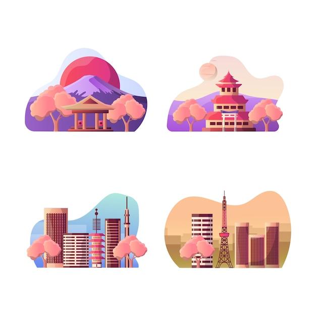 Wektorowa ilustracja japoński turystyczny miejsce przeznaczenia Premium Wektorów