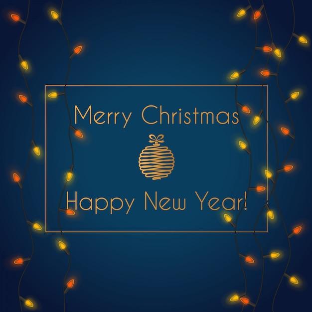 Wektorowa ilustracja kolorowa rozjarzona bożonarodzeniowe światła girlandy iluminacja z wesoło bożymi narodzeniami Premium Wektorów
