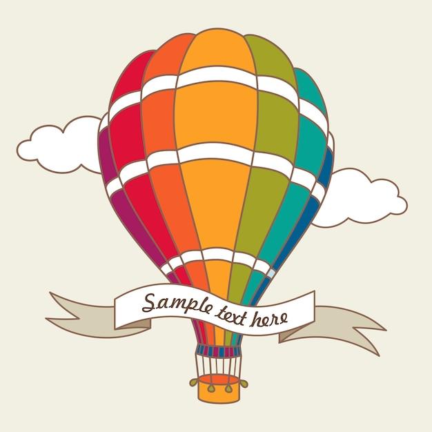 Wektorowa ilustracja kolorowy lotniczy balon Premium Wektorów