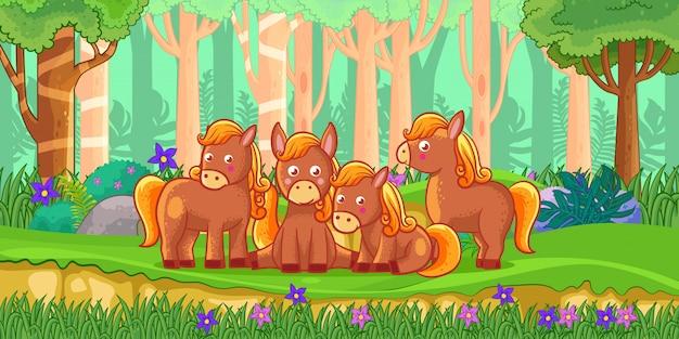 Wektorowa ilustracja kreskówka konie w dżungli Premium Wektorów