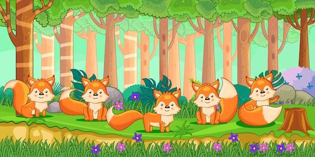 Wektorowa Ilustracja Kreskówka Lisy W Dżungli Premium Wektorów