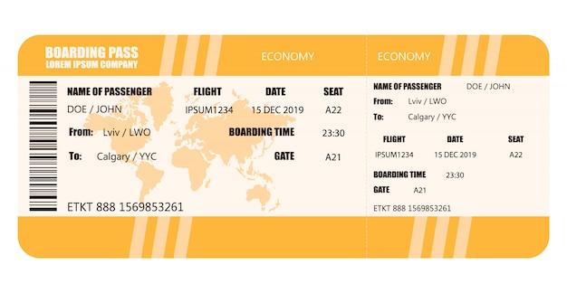 Wektorowa Ilustracja Linia Lotnicza Karta Pokładowa - Akcyjny Wektor Premium Wektorów