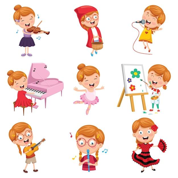 Wektorowa Ilustracja Małej Dziewczynki Performing Sztuka Premium Wektorów