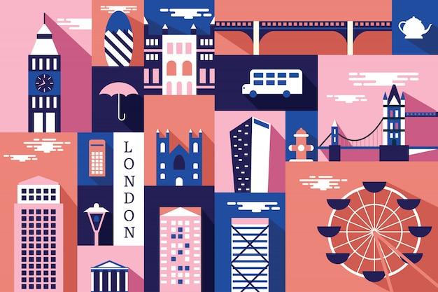 Wektorowa ilustracja miasto w london Premium Wektorów