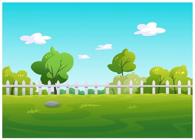 Wektorowa Ilustracja Ogrodowy Drzewo Z Zieloną Trawą Premium Wektorów