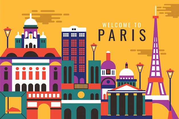 Wektorowa ilustracja powitanie paris Premium Wektorów