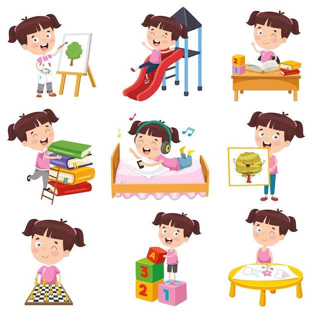 Wektorowa ilustracja robi różnorodnym aktywność kreskówki dziewczyna Premium Wektorów