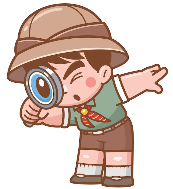 Wektorowa ilustracja safari chłopiec z powiększać - szkło Premium Wektorów