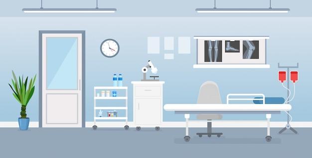 Wektorowa Ilustracja Sala Szpitalnej Wnętrze Z Medycznymi Narzędziami, łóżkiem I Stołem. Pokój W Szpitalu W Stylu Cartoon Płaski. Premium Wektorów