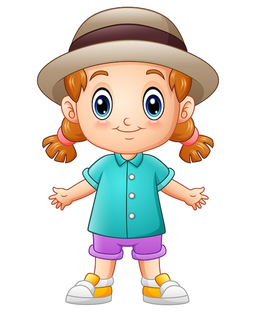Wektorowa Ilustracja śliczna Małej Dziewczynki Kreskówka W