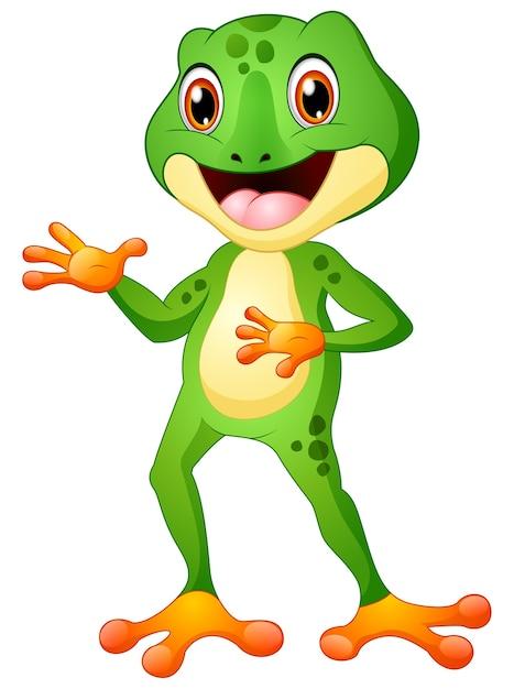 Wektorowa Ilustracja śliczny żaby Kreskówki Pozować Premium Wektorów