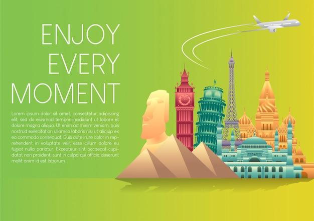 Wektorowa Ilustracja światowego Dnia Turystyki Plakatowy Sztandar Z Sławnymi światowymi Zabytkami I Elementami Miejsc Turystycznych. Premium Wektorów