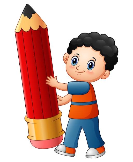 Wektorowa Ilustracja Trzyma Ołówek Chłopiec Kreskówka Premium Wektorów