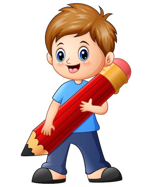 Wektorowa Ilustracja Trzyma Ołówek Mały Chłopiec Premium Wektorów