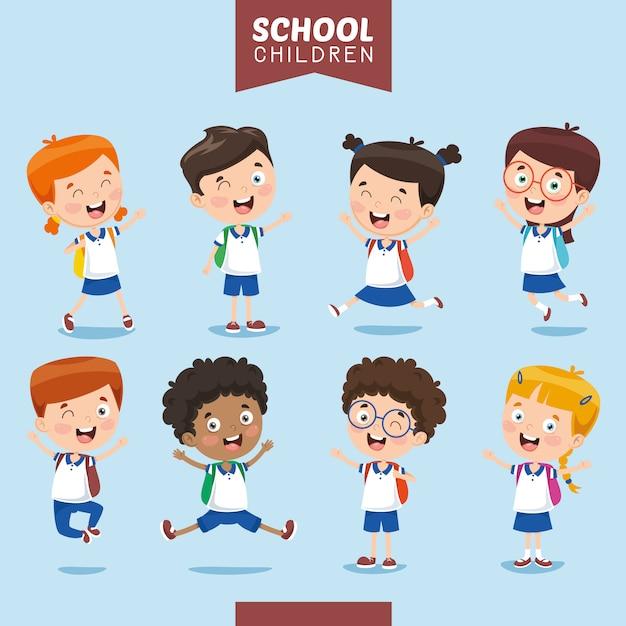 Wektorowa ilustracja uczeń dzieciaki Premium Wektorów