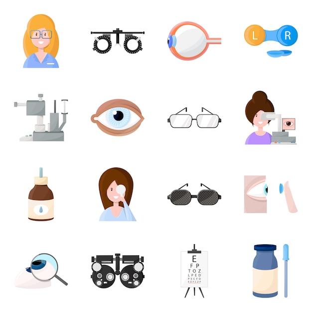 Wektorowa Ilustracja Wzroku I Kliniki Logo. Zestaw Wizji I Okulistyki Premium Wektorów