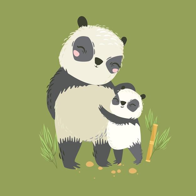 Wektorowa Ilustracja Zwierzęta. Duża Panda Mama I Dziecko. Cudowny Uścisk. Matczyna Miłość. Dziki Niedźwiedź Premium Wektorów