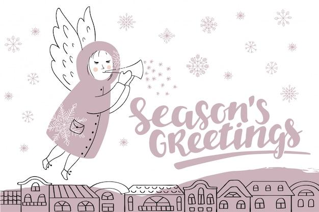 Wektorowa Kartka Bożonarodzeniowa Z Literowaniem I Aniołem. Premium Wektorów