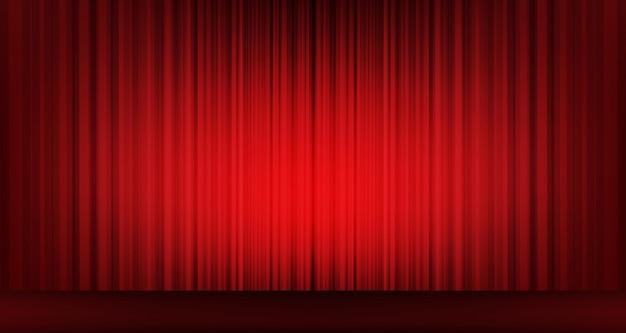 Wektorowa Klasyczna Czerwona Zasłona Z Sceny Tłem, Nowożytny Styl. Premium Wektorów