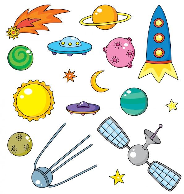 Wektorowa Kolekcja Statek Kosmiczny, Planety I Gwiazdy Premium Wektorów