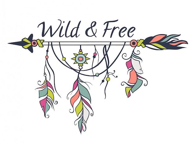 Wektorowa kolorowa ilustracja z etnicznymi strzała, piórkami i plemiennymi elementami. styl boho i hippie. motywy indian amerykańskich Premium Wektorów