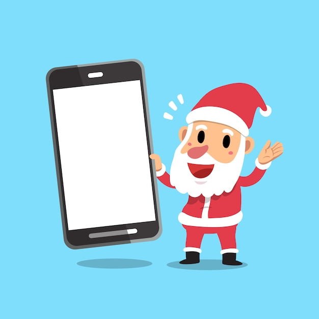 Wektorowa Kreskówka Santa Claus Trzyma Dużego Smartphone Premium Wektorów