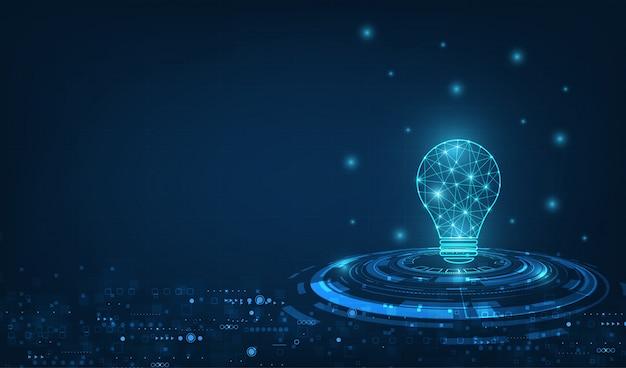 Wektorowa okrąg technika z bławą i lampową żarówką na technologii tle. Premium Wektorów