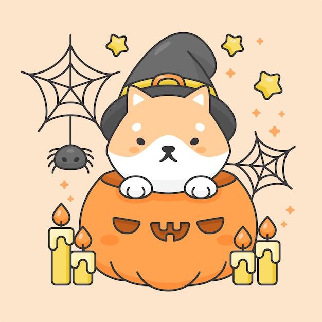 Wektorowa postać śliczny shiba inu pies w bani z świeczki i pająka halloweenowym kostiumem Premium Wektorów