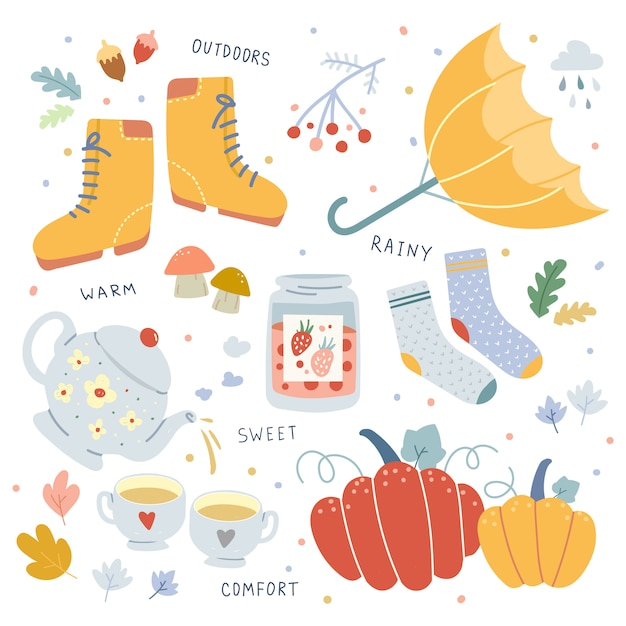 Wektorowa Ręka Rysować Ilustracje Jesieni Sezonowi Atrybuty. Premium Wektorów