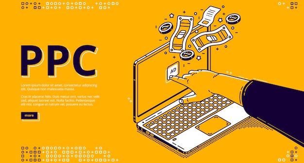 Wektorowa Strona Docelowa Systemu Płatności Za Kliknięcie Z Izometrycznymi Kliknięciami Dłoni W Celu Wyświetlenia Reklamy Na Ekranie Laptopa I Pieniędzy. Darmowych Wektorów