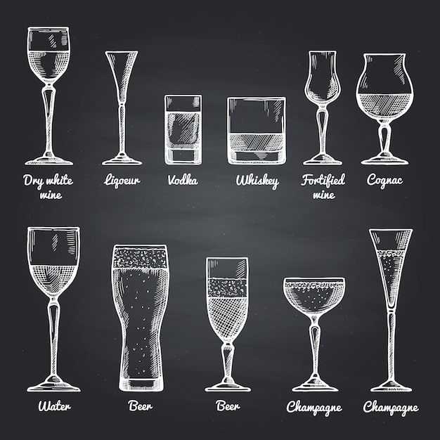 Wektorowe ilustracje szklanek do picia alkoholu na czarnej tablicy. obrazy do rysowania wektorowego Premium Wektorów