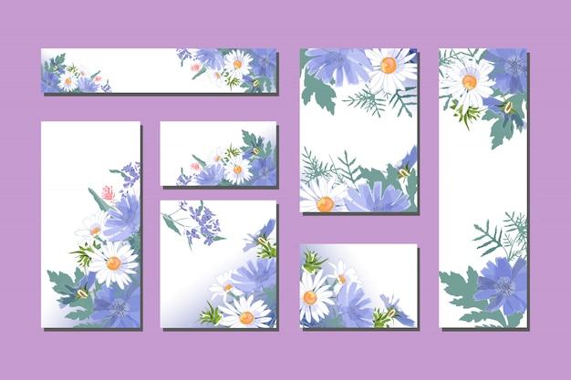 Wektorowe kwieciste karty z ślicznymi błękitnymi i białymi kwiatami. Premium Wektorów