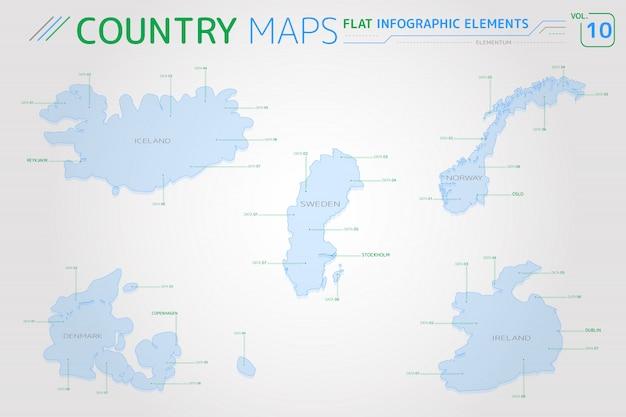 Wektorowe Mapy Islandii, Szwecji, Norwegii, Danii I Irlandii Premium Wektorów