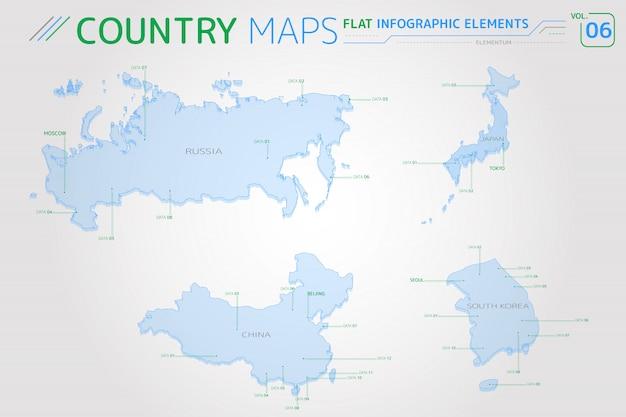 Wektorowe Mapy Rosji, Chin, Japonii I Korei Południowej Premium Wektorów