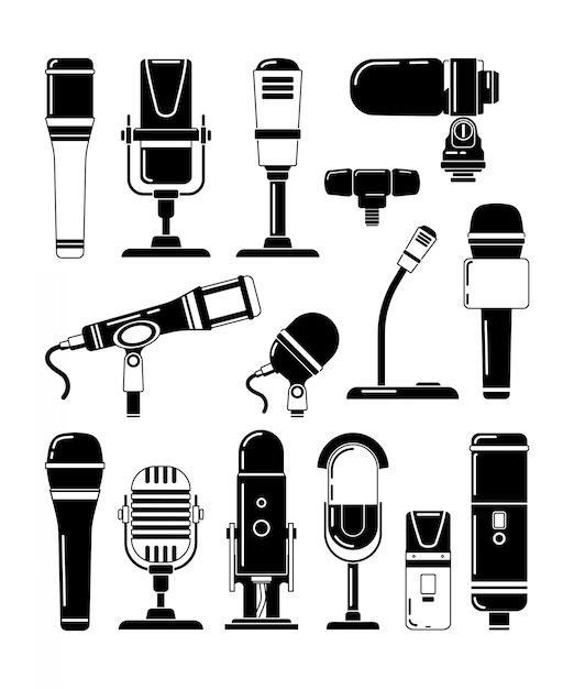 Wektorowe Monochromatyczne Ilustracje Mikrofonów I Innych Profesjonalnych Narzędzi Dla Reporterów Premium Wektorów