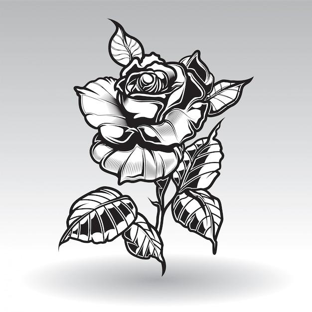 Wektorowe Tatuaż Róże Z Liśćmi Na Białym Tle Wektor