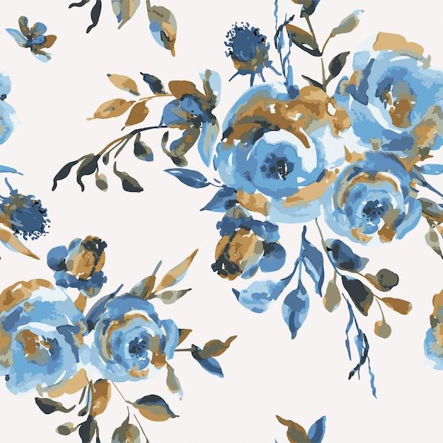 Wektorowego rocznika bezszwowy wzór z turkusowymi różami, wildflowers. naturalna niebieska faktura kwiatowa Premium Wektorów