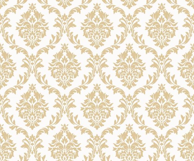 Wektorowi bezszwowi adamaszkowi złociści wzory. bogaty ornament, stary złoty wzór w stylu damasceńskim Premium Wektorów