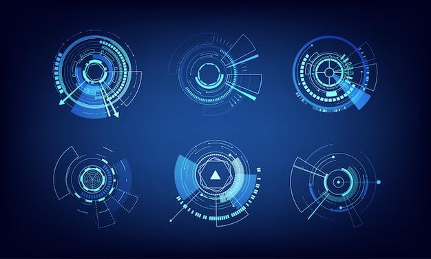 Wektorowi elementy ustawiają technologia okręgu projekt Premium Wektorów