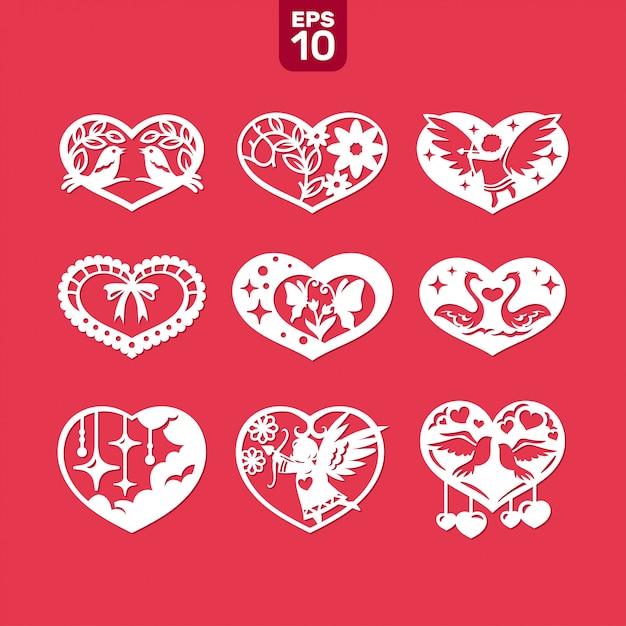 Wektorowi Serca Ustawiający Dla ślubu I Valentine Premium Wektorów