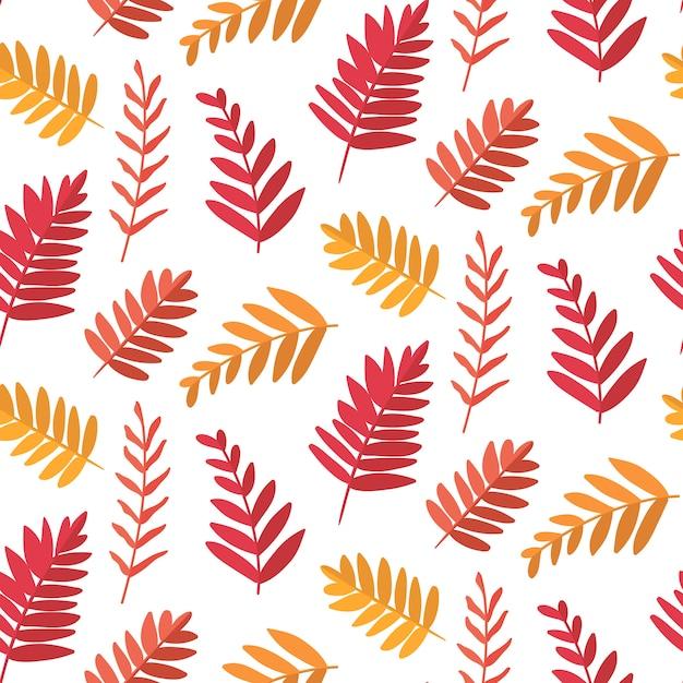 Wektorowy bezszwowy tło z liśćmi. tekstura botaniczna. Premium Wektorów
