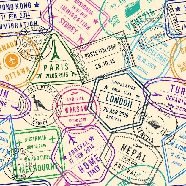 Wektorowy Bezszwowy Wzór Podróży Ilustracje Z Znaczkami, Wizą I Różnymi Dokumentami Dla Podróży ,. Premium Wektorów