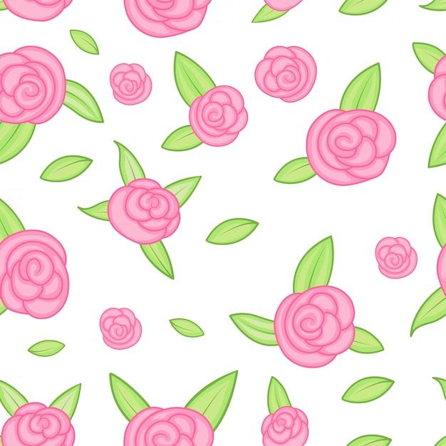 Wektorowy bezszwowy wzór z kontur stylizowanymi różami. piękny kwiatowy wzór Premium Wektorów
