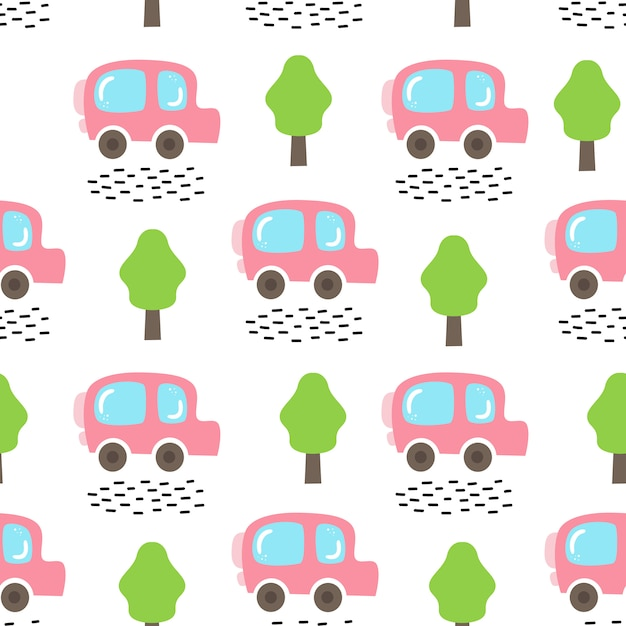 Wektorowy Bezszwowy Wzór Z Samochodem I Drzewami Premium Wektorów