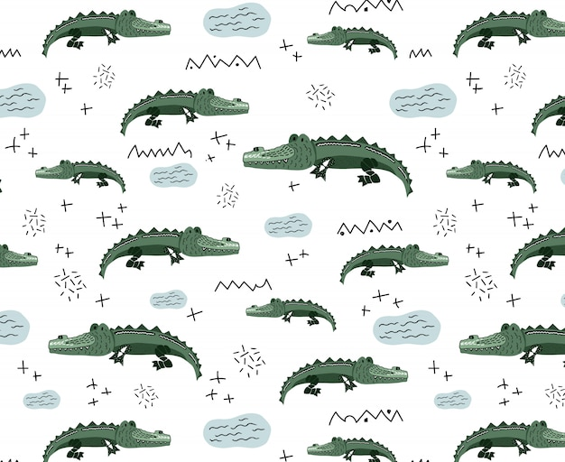 Wektorowy Bezszwowy Wzór Z ślicznymi Krokodylami Premium Wektorów