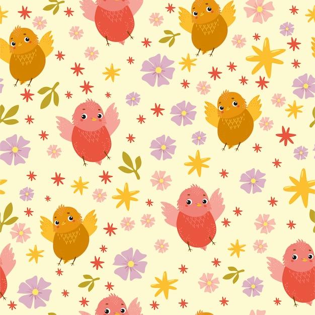 Wektorowy bezszwowy wzór z śmiesznymi ptakami i kwiatami Darmowych Wektorów