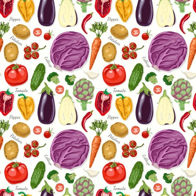 Wektorowy bezszwowy wzór z warzywami Premium Wektorów